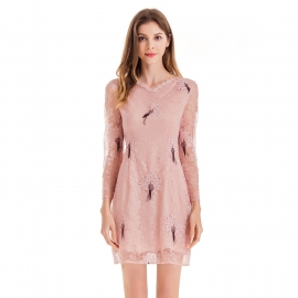 Neckline with trims lace body dress with three quarter sleeves nude pink dress above knee length dresses