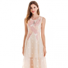 Round neck with lace trim on it sleeveless embroidery on body tulle above knee length champagne dress