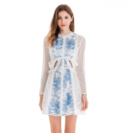 Round neck with lace trim blue hollow out lace body with white long sleeves dress