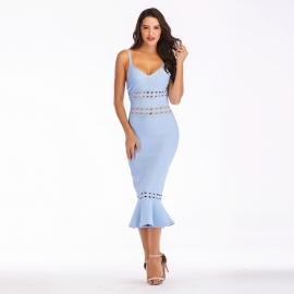 Dusty purple sweatheart straps hollow out long bandage dress