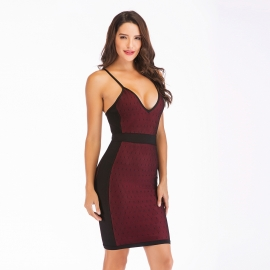 Brick red v neck straps black contrast bandage dress