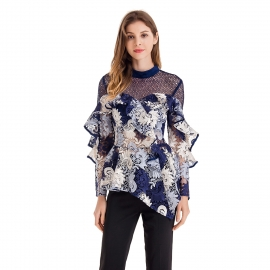 Round wrap neck hollow out upper front and back and sleeves high quality lace navy blue shirt top