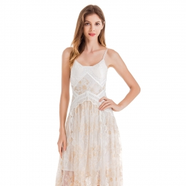 Straps shoulder white dress with lace trims tape on body exposed upper back sleeveless dress