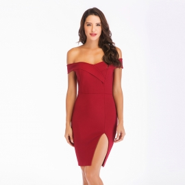 Off shoulder bandage with slit on left beautify bandage dress