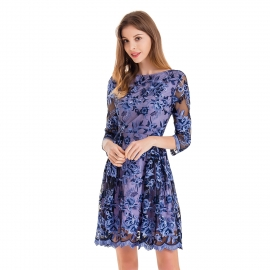 Full neckline blue dress three quarters sleeves embroidery on body waving shape on bottom hem and sleeve hem dress