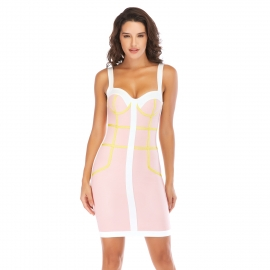 White straps bandage dress pink body with yellow binding white contrast bandage dress club paty bandage dresses