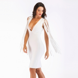 White sexy front v neck bandage dress