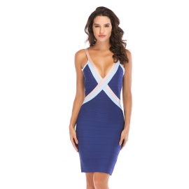Royal blue bandage dress above knee length bandage pink and blue binding neck straps should v back navy blue bandage